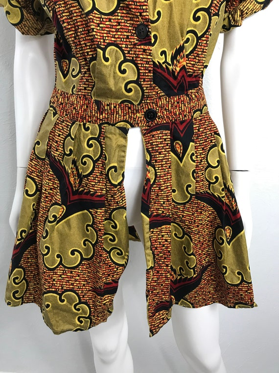Vtg 80s ethnic african print peplum top shirt min… - image 4