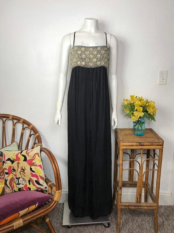 Vtg 70s Indian silk gauze and beaded black column
