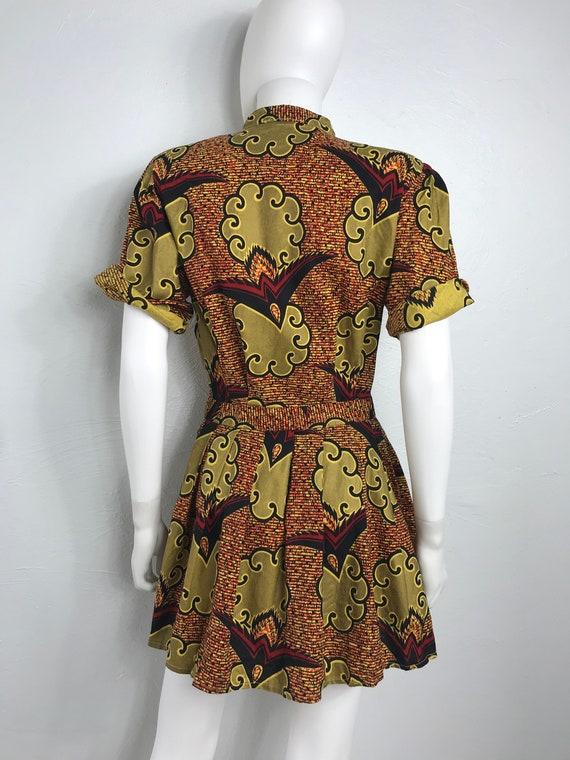 Vtg 80s ethnic african print peplum top shirt min… - image 5