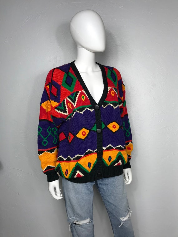 Vtg 80s colorful rainbow patchwork cardigan sweate