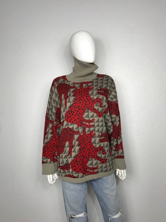 Vtg 80s Chacok abstract unicorn print knit sweater