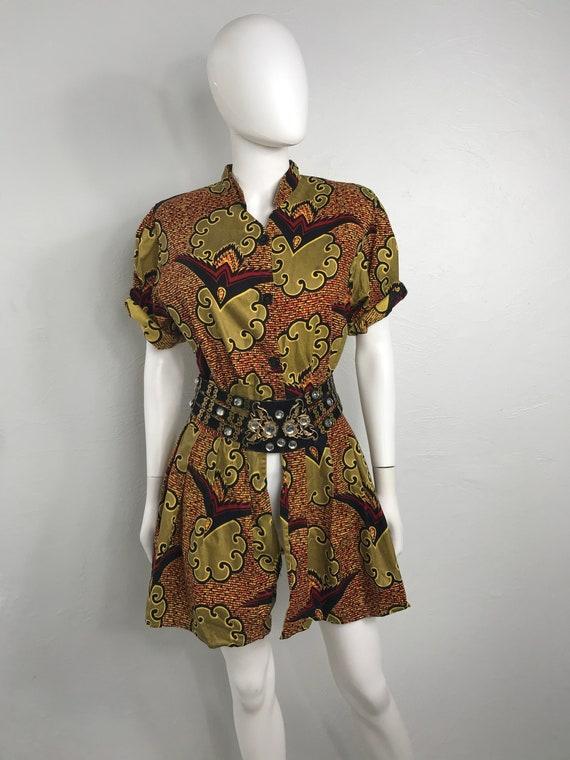 Vtg 80s ethnic african print peplum top shirt mini
