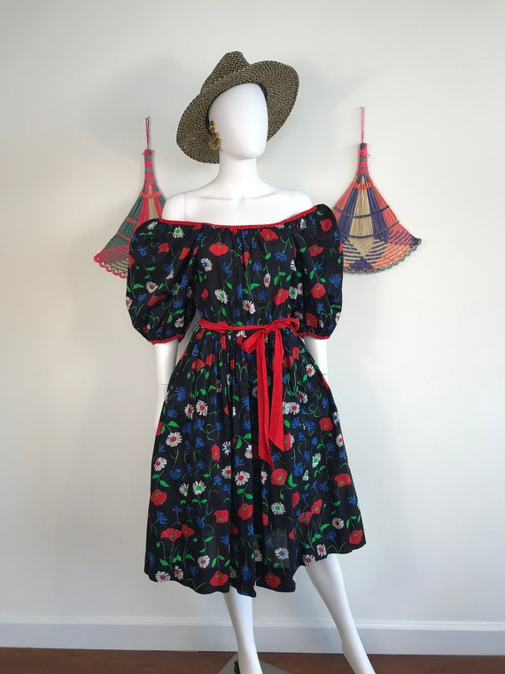 Vtg 70s 80s Cotton voile gauze floral puff sleeve