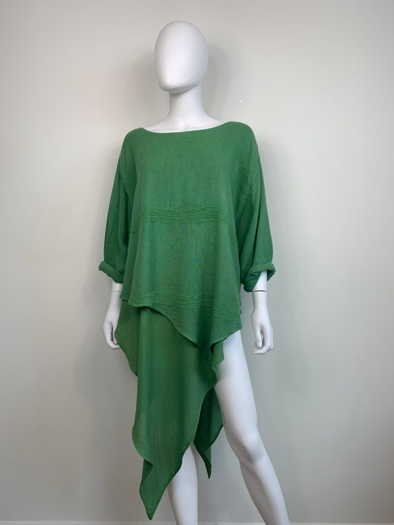 Vtg 70s 80s green Moroccan rayon tunic lIke Laise