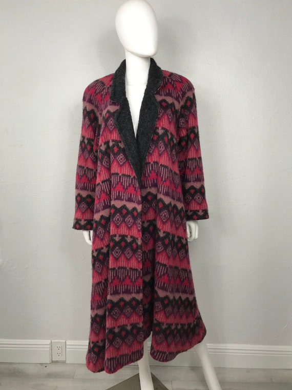 Vtg 70s chevron knit maxI sweater coat S/M