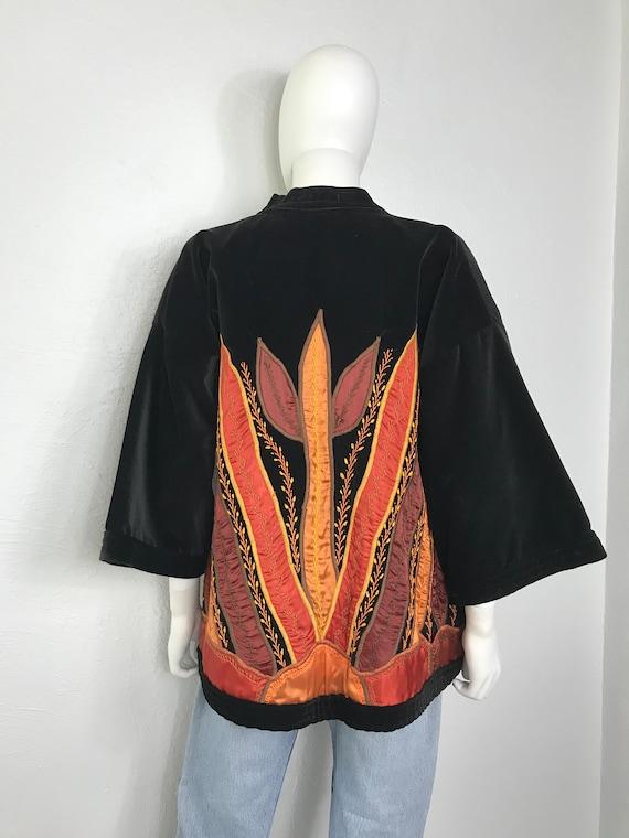 Vtg 70S 80s Judith Roberts velvet appliqué jacket