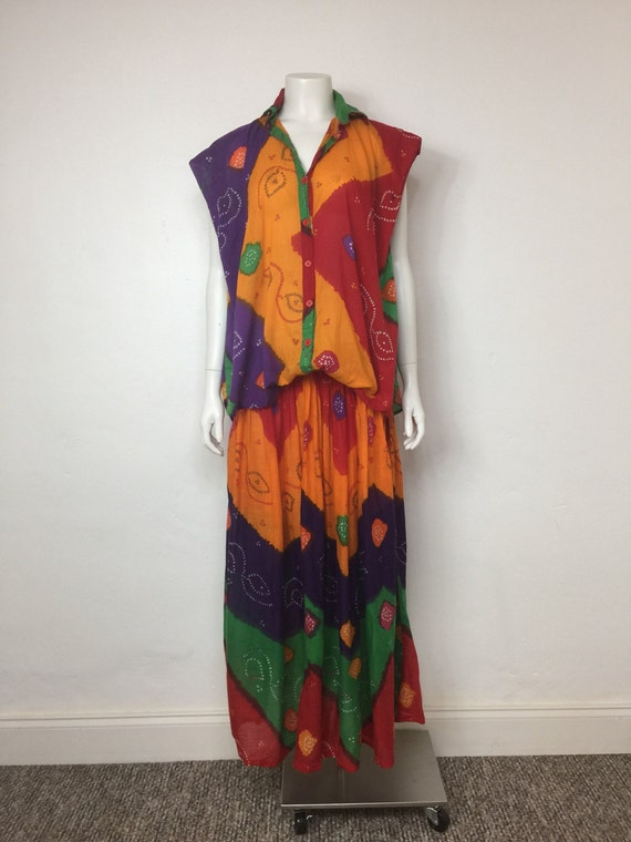 Vtg 70s star of india 2 piece tie dye maxi dress s