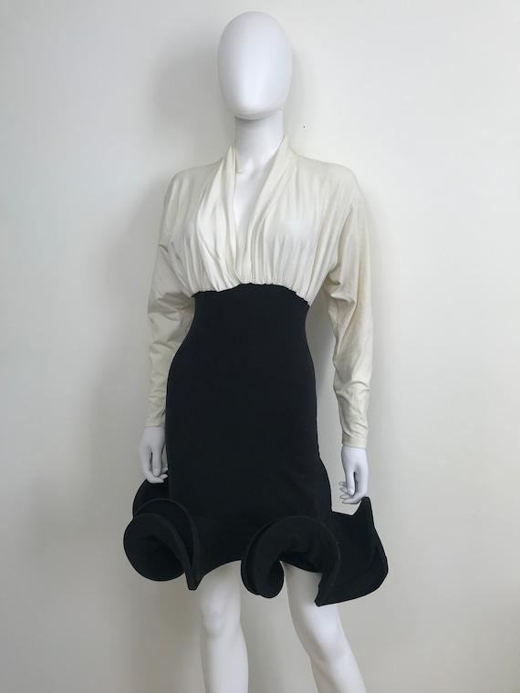 Vtg 80s avant garde body con black white space dre