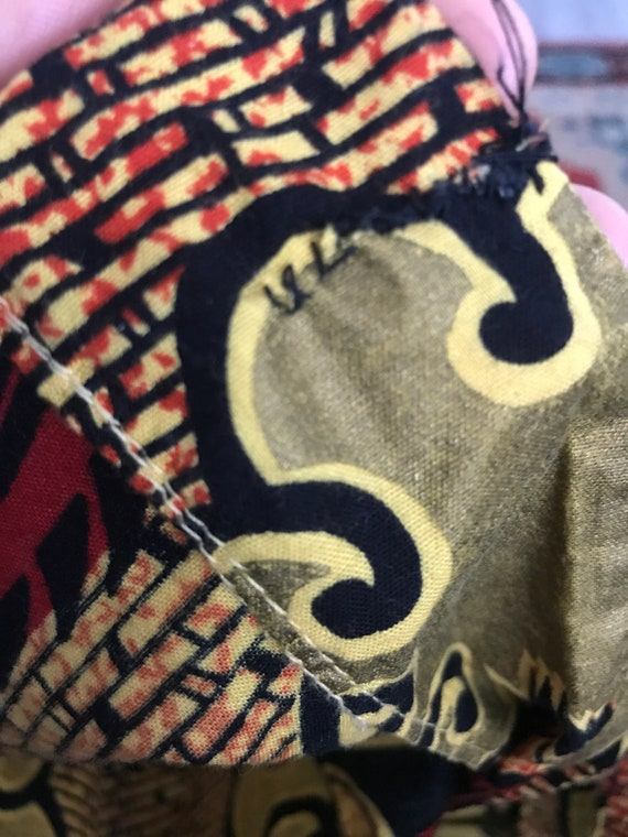 Vtg 80s ethnic african print peplum top shirt min… - image 6