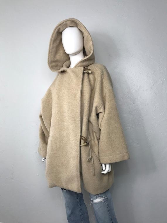 Vtg Benetton camel wool loose fit hooded blanket c