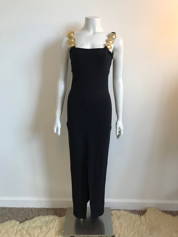 Vtg 80s 90s black and gold body con long slinky dr