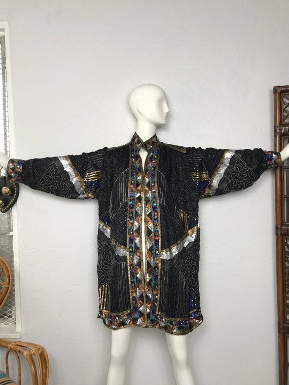 Vtg 80s sequin beaded avant garde kimono jacket li