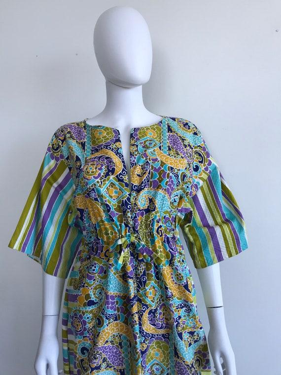 Vtg 70s abstract print cotton caftan maxi dress M