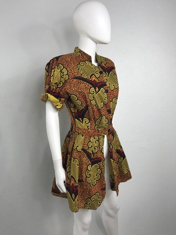 Vtg 80s ethnic african print peplum top shirt min… - image 3