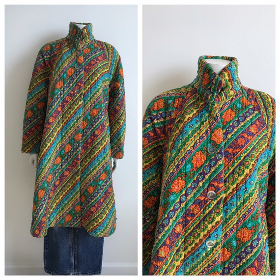 Vtg 60s 70s paisley floral funky quilted rainbow c