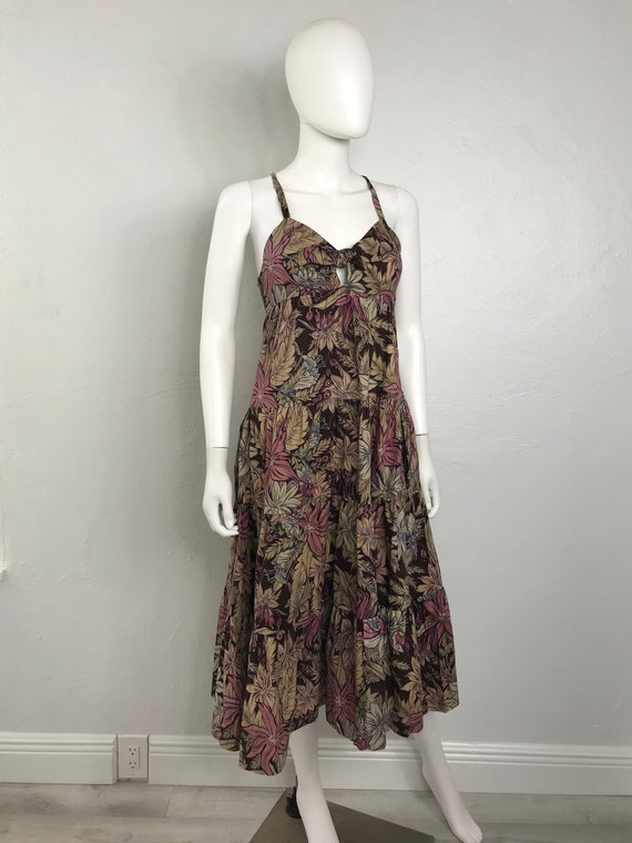 Vtg 70s floral cotton Young Edwardian XS fall dres
