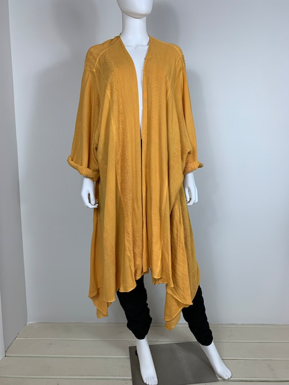 vtg 80s Laise Adzer sunshine yellow rayon avant ga