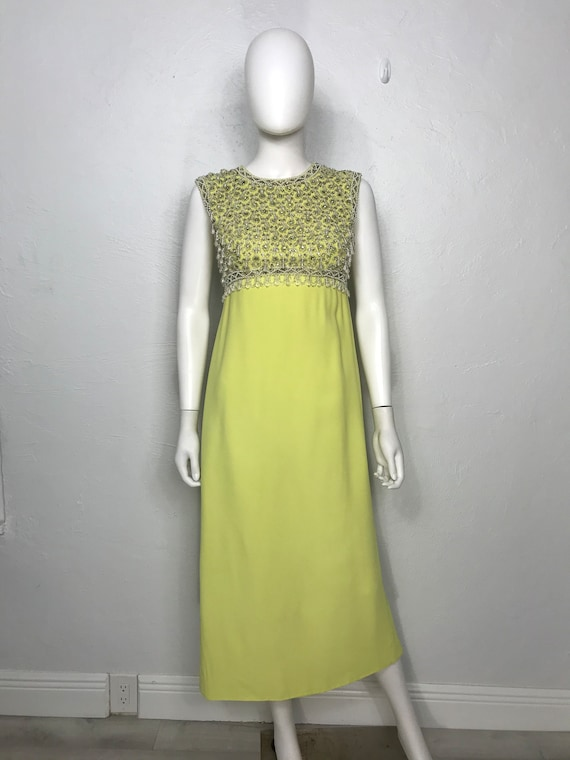 Vtg 60s lime crepe heavily beaded and sequin colum