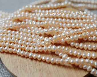 Seed pearl necklace 4.8-5mm freshwater pearl necklace potato pearl necklace natural white loose pearl 78pcs Wedding Full Strand LY2221