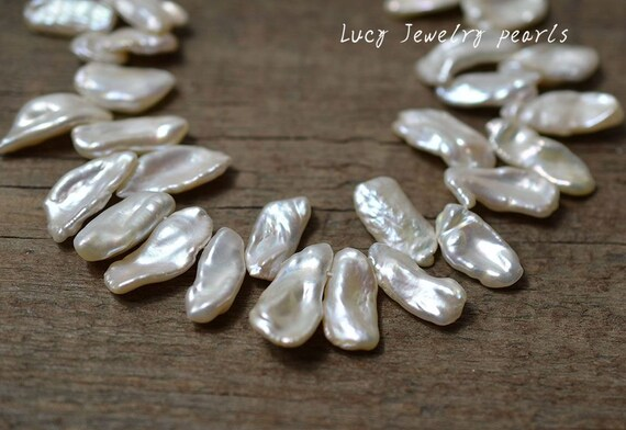 DIY 15-16mm wholesale coin pearl necklace natural white loose pearl necklace pearl jewelry freshwater pearl 22pcs wedding Full Strand LY3128