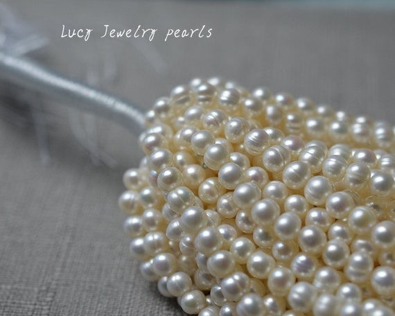 "10 Strand 14.1/"" Natural Freshwater Pearl Beads Grade A Round Ivory 2-3mm Craft"