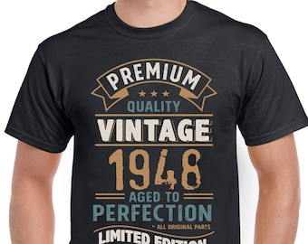 Vintage Year 1948 Limited Edition 70th Birthday Mens Funny T-Shirt 70 Year Old 3CV48