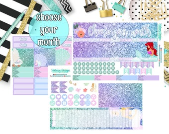 Mermaid monthly sticker kit, choose your month, for use with ERIN CONDREN planner