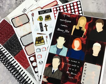 Buffy mini 3 page planner sticker kit, will fit Erin Condren planners and EC size boxes