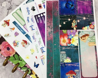 Fairy garden weekly Sticker Kit mini happy planner, also suitable for Personal Planners
