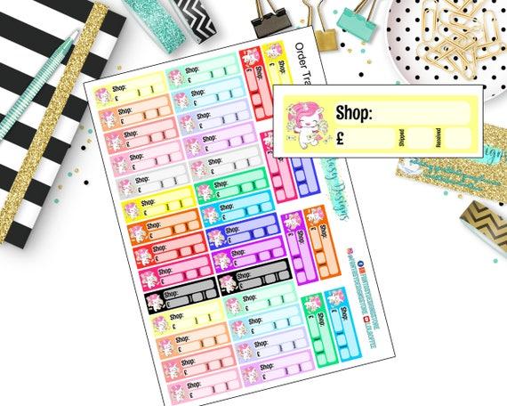 97d80e62598b8 Unicorn Order Tracker Planner Stickers | Erin Condren, Happy Planner,  Travelers Notebook, Personal Planners