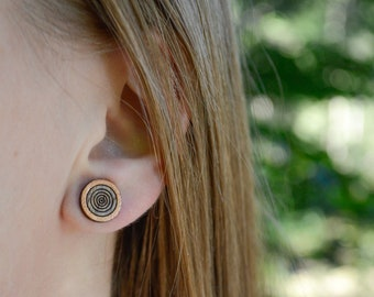 Round Wooden Earrings, Simple Round Studs, Men Earrings, Geometric Stud Earrings, Titanium Studs, Hypoallergenic Studs