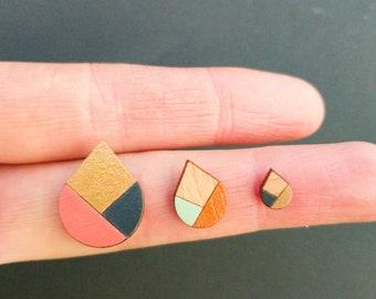 Drop Geometric Stud Earrings, Titanium Posts, Casual Earrings
