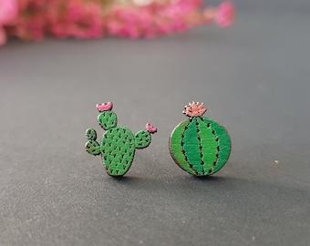 Wooden cactus stud earrings, small cactus earrings, tropical earrings, cute summer studs, cactus gift, succulent jewelry