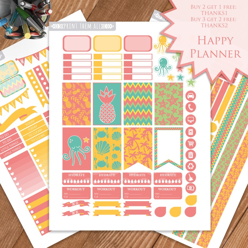 photograph about Happy Planner Stickers Printable called Summer time, Sea, Planner Stickers Printable, Satisfied Planner, Regular monthly/Weekly Sticker Package, Printable Sampler, Pleased Planner Package, Prompt down load