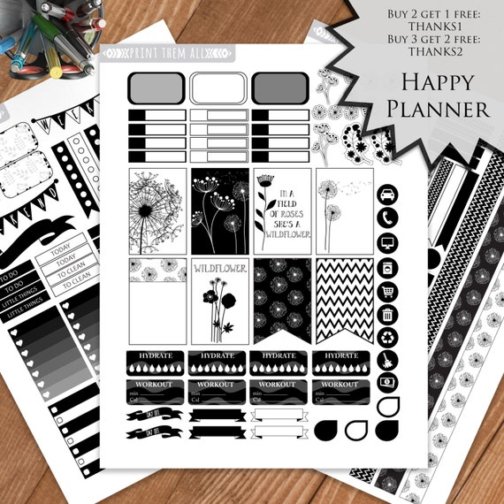 Black White Planner Stickers Printable Wildflower Happy Etsy