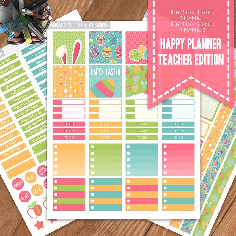 Teacher Planner Stickers, Happy Planner Teacher Edition, Planner Stickers,  Printable stickers, Planner Printable, Happy Teacher Planner Kit