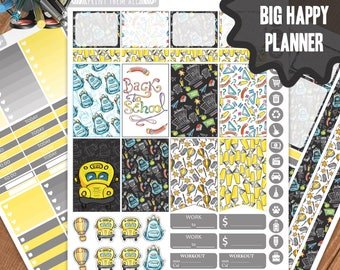 Back To School Planner Stickers Printable, Big Happy Planner Stickers, Weekly Planner Kit, Planner Stickers, Big MAMBI Planner Stickers