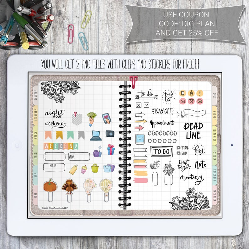 Digital Planner for GoodNotes with Hyperlinks, Digital Planner for Android  or PC (Xodo app) + FREE Stickers