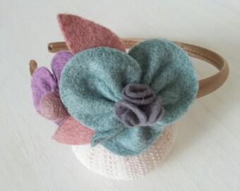 girls / childrens handmade felt flower headband