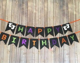 halloween birthday banner happy birthday banner halloween banner halloween party ghosts glitter happy halloween green purple orange