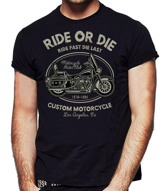 Ride noir Or Die moto Custom T-shirt noir Ride Cafe Racer Biker T-shirt - T-shirt pour homme drôle - NexGen vêtements bbbfdb
