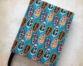 A6 Artist 39 s Sketchbook Plain Notebook Hand Covered in a Colourful Feather Print Fabric
