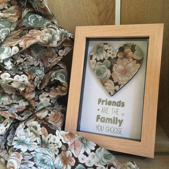 Vintage Floral Fabric Heart Box Frame Art With A Hand Etsy