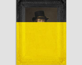 Unusual Art Prints for Eclectic and Eccentric Home Decor - Large Canvas Artwork - Yellow Wall Art - Wall Decor Ideas