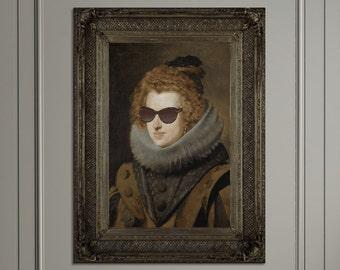 Quirky Classic Canvas Art Print | Eclectic Modern Cool Pop Art Portrait Artwork | Brown Gold Art