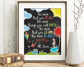 Dr Seuss - The more you read, the more you know, the more you learn, the more places you'll go.  Digital Print, Teacher Gift