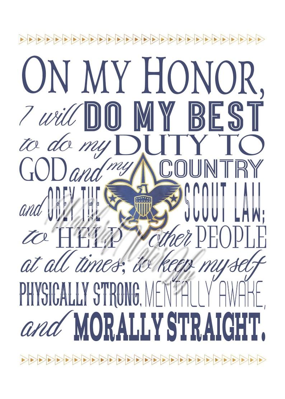 Boy Scout Oath Law Motto Slogan Digital Prints Etsy