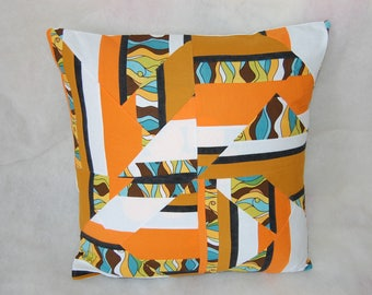 Pillow cover in patchwork fabric and orange/white/beige color multicolor