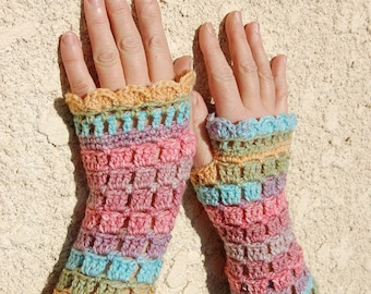 Multicolored hand crocheted mittens