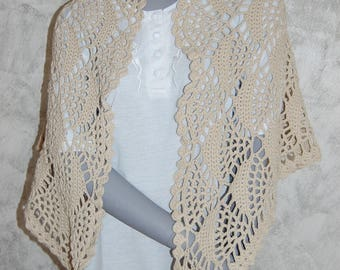 Beige hand crocheted shawl